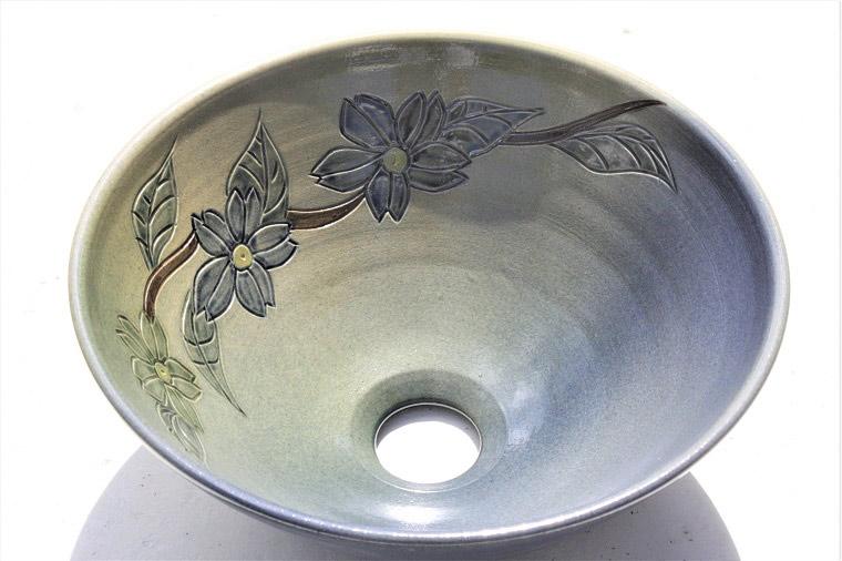 洗面ボウル/花型模様洗面鉢[洗面ボウル・洗面器・手洗い鉢・手洗いボウル]NO-215