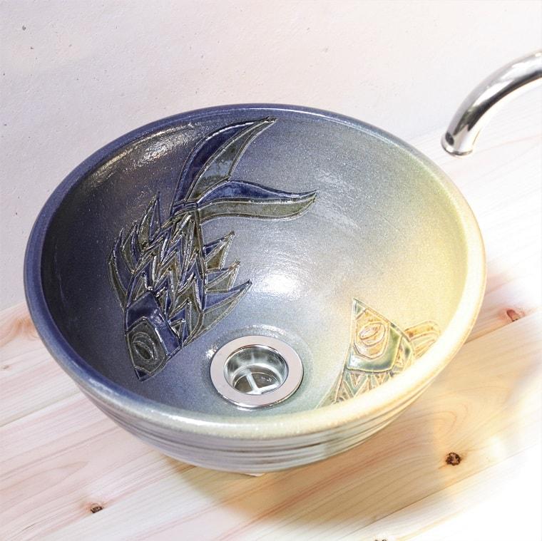 洗面ボウル/魚紋洗面鉢/沖縄陶器やちむん製[洗面鉢][洗面ボール][洗面ボウル][手洗い鉢][手洗いボール]送料無料 NO-19