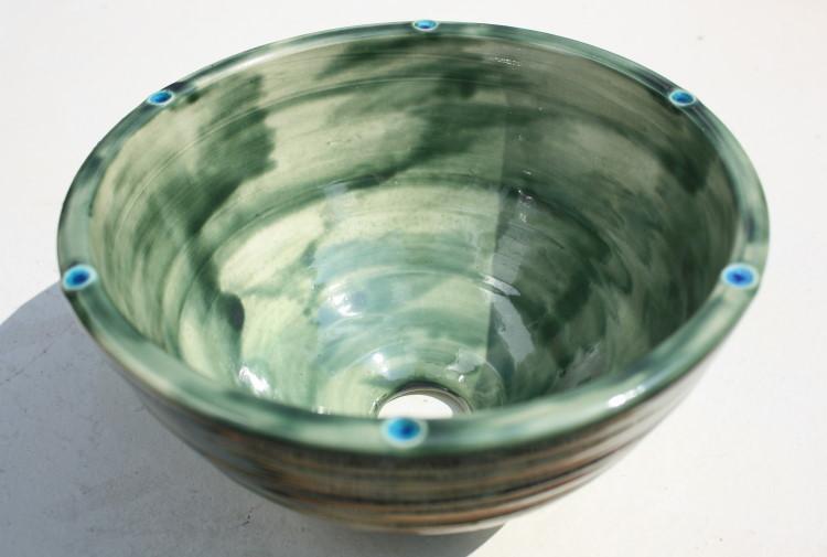 陶器と琉球ガラスの洗面ボウル おしゃれ NO-8 シンプル やちむん[洗面鉢][洗面ボール][洗面ボウル][洗面器][手洗い鉢][手洗いボール][手洗いボウル][手洗い器]