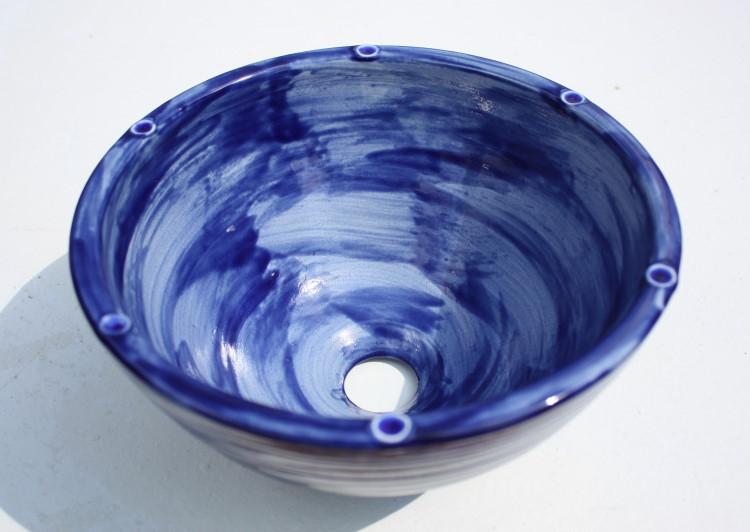 陶器と琉球ガラスの洗面ボウル おしゃれ NO-9 シンプル やちむん[洗面鉢][洗面ボール][洗面ボウル][洗面器][手洗い鉢][手洗いボール][手洗いボウル][手洗い器]