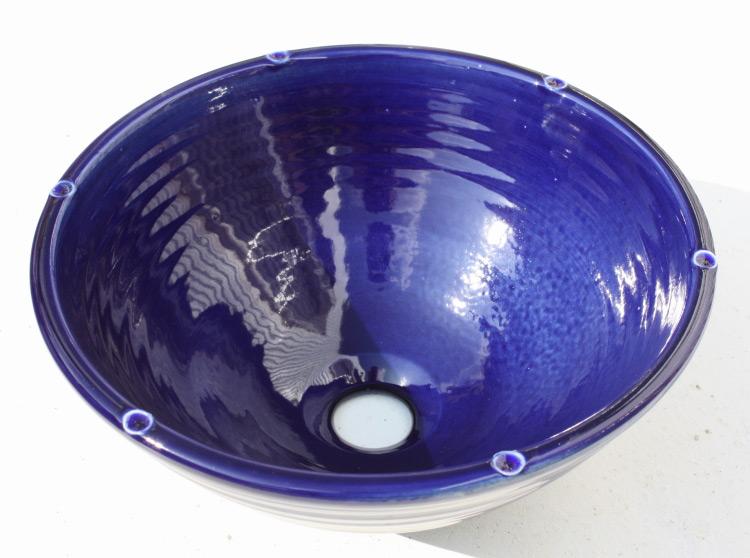 陶器と琉球ガラスの洗面ボウル おしゃれ シンプル やちむん[洗面鉢][洗面ボール][洗面ボウル][洗面器][手洗い鉢][手洗いボール][手洗いボウル][手洗い器]NO-10 藍色