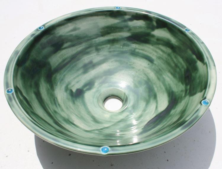 【アウトレット】陶器と琉球ガラスの手洗い NO-51