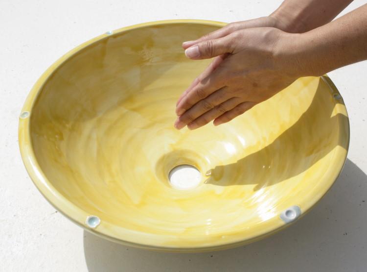 陶器と琉球ガラスの洗面ボウル おしゃれ NO-13 シンプル やちむん[洗面鉢][洗面ボール][洗面ボウル][洗面器][手洗い鉢][手洗いボール][手洗いボウル][手洗い器]大きなサイズ