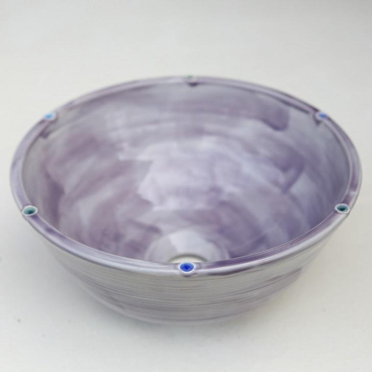 陶器と琉球ガラスの洗面ボウル おしゃれ やちむん NO-23 [洗面鉢][洗面ボール][洗面器][手洗い鉢][手洗いボール][手洗いボウル]送料無料