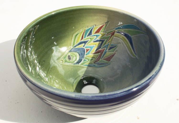 紅型模様洗面鉢NO-206/洗面ボウル・洗面器・手洗い鉢・手洗いボウル/送料無料