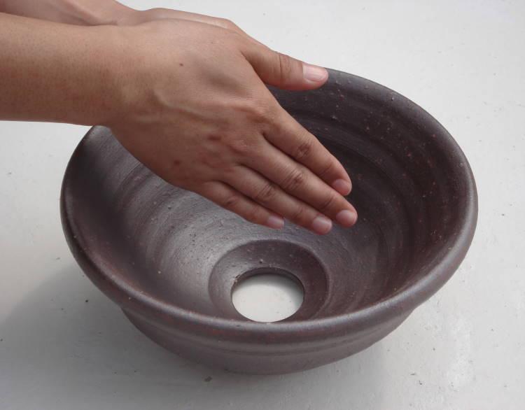 [手洗いボウル][手洗いボール][手洗い鉢]NO-28[洗面ボウル][洗面ボール][洗面鉢]沖縄陶器やちむん鉢/陶器/和風/シンプル/モダン/送料無料