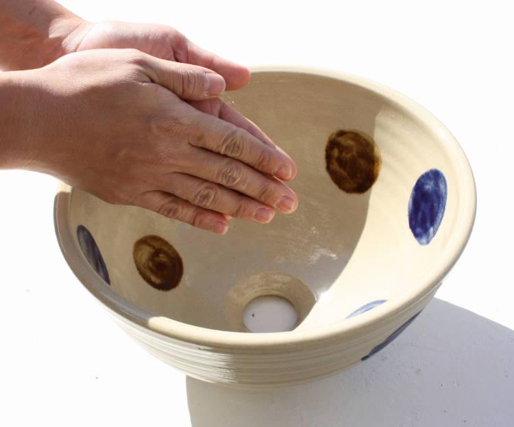 陶器 手洗い鉢/手洗いボール/手洗いボウル/手洗い器/洗面鉢/洗面ボール/洗面ボウル/洗面器/リフォーム/送料無料ドット NO-67