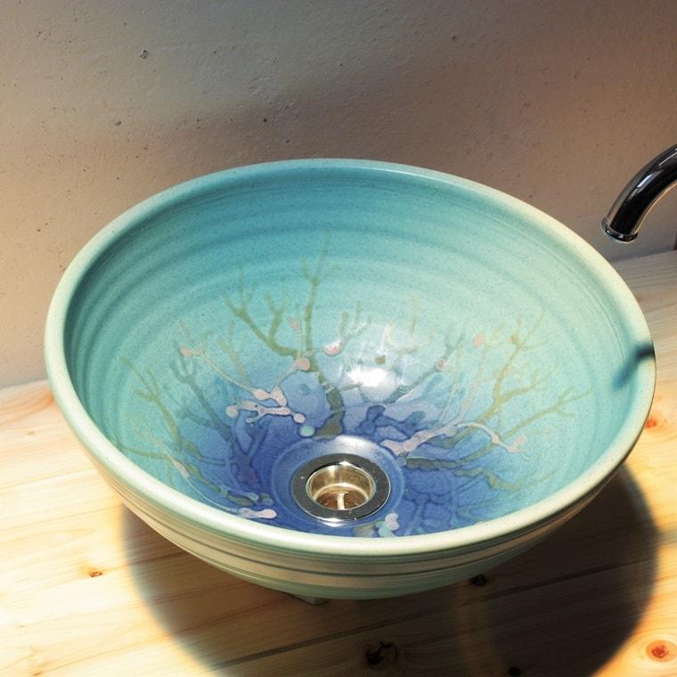 珊瑚の洗面ボウル/おしゃれ/やちむん[洗面鉢][洗面ボール][洗面器]NO-1[送料無料]