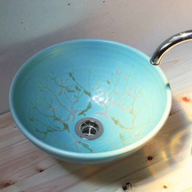 珊瑚の洗面ボウル/NO-2おしゃれに彩る陶芸家の1点物/やちむん[洗面鉢][洗面ボール][洗面器][送料無料]