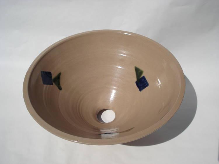 洗面ボウル/陶器洗面鉢/ 沖縄陶器やちむん製[洗面鉢][洗面ボール][洗面ボウル][手洗い鉢][手洗いボール] NO-44