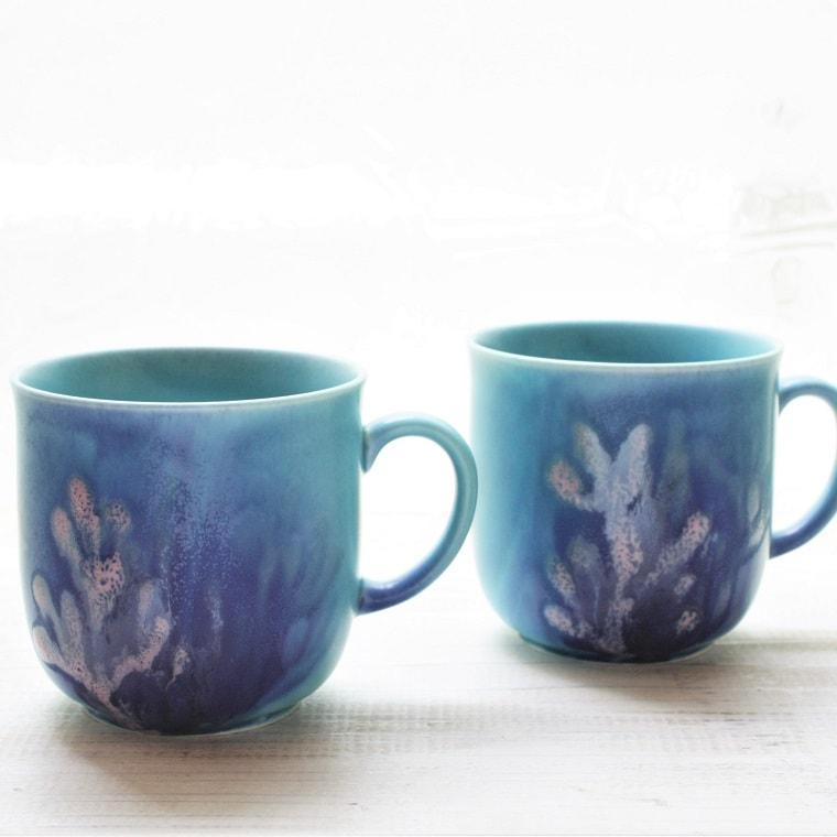 やちむんカップペア マグ/沖縄陶器/さんごのコーヒーカップ〈新生活〉〈結婚祝い〉〈引出物〉〈法人ギフト〉〈記念品〉〈退職祝〉内祝/ギフト/サンゴ/ヤチムン/珊瑚カップ(NO-1)