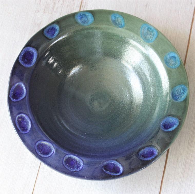 やちむん 皿/新しいやちむん/沖縄の陶器と琉球ガラスの皿/新生活の食器/引き出物/ギフト/北欧皿/おしゃれ/プレミアムプレート/ターコイズ/内祝い/ヤチムン