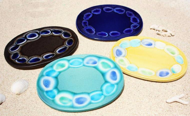 表札 ガラス タイル 陶板 戸建 やちむんの沖縄陶器と琉球ガラスの表札/マンション表札/オリジナル/一点物