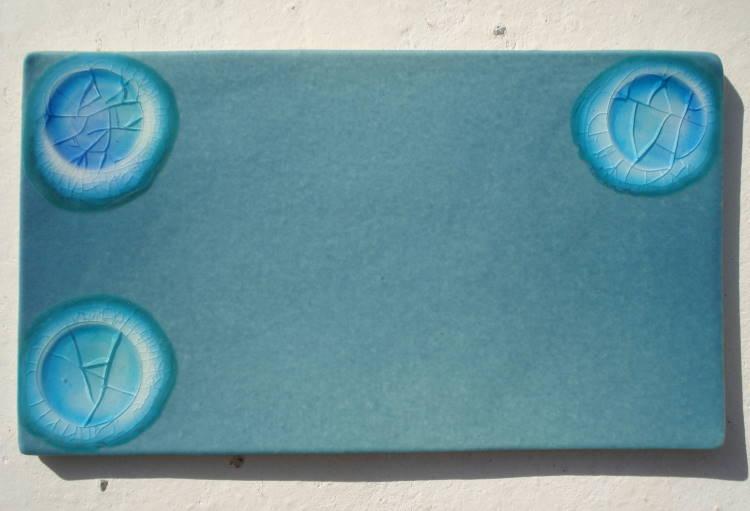表札/沖縄陶器と琉球ガラスのやちむんの表札/おしゃれな戸建表札/タイル/陶板/オリジナルの一点物。陶器と琉球ガラスの表札[NO-59]おしゃれ[送料無料]