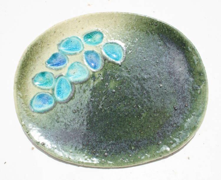 送料無料/沖縄陶器と琉球ガラスの表札【NO-80】おしゃれ