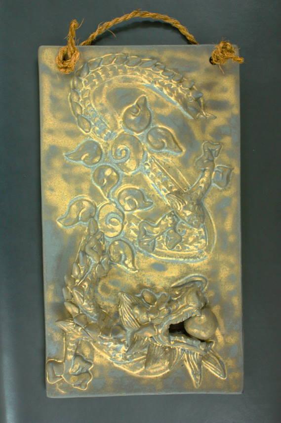 龙小雕像、 龙 3、 风水玩具、 好运、 陶瓷板、 作家、 日本生肖和龙龙