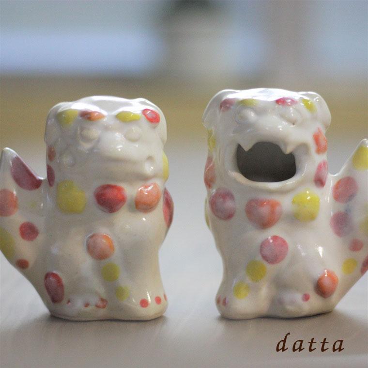 沖縄陶器やちむんの紅型シーサー[一品物]立ちシーサー[紅37]風水グッズ・縁起物・日本製