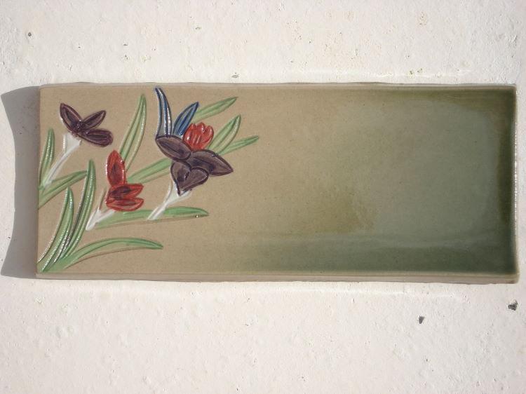 沖縄陶器のやちむん紅型表札[送料無料][J-18]