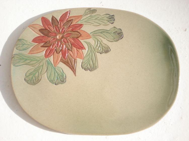 沖縄陶器の紅型表札[送料無料][1点物][K-3]やちむん陶板・焼き物/おしゃれ