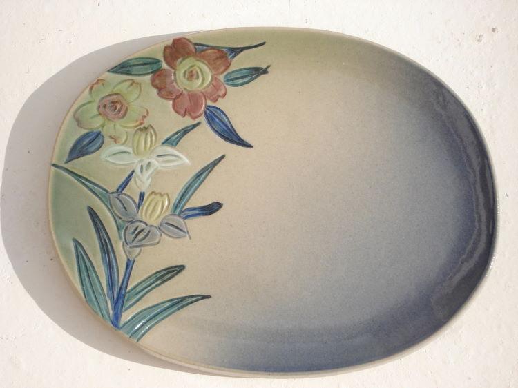 沖縄陶器のやちむん紅型の陶器・陶板表札[送料無料][K-7]