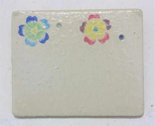 沖縄の紅型と琉球ガラスの陶器やちむん表札・陶板[K-2]おしゃれなデザイン[送料無料]