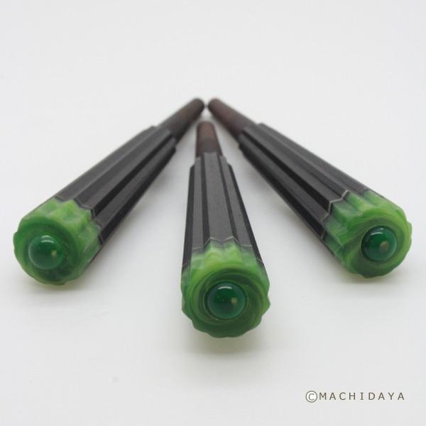 三線 カラクイ (糸巻き) 黒檀 十二角グリーンマーブル玉緑 3本セット