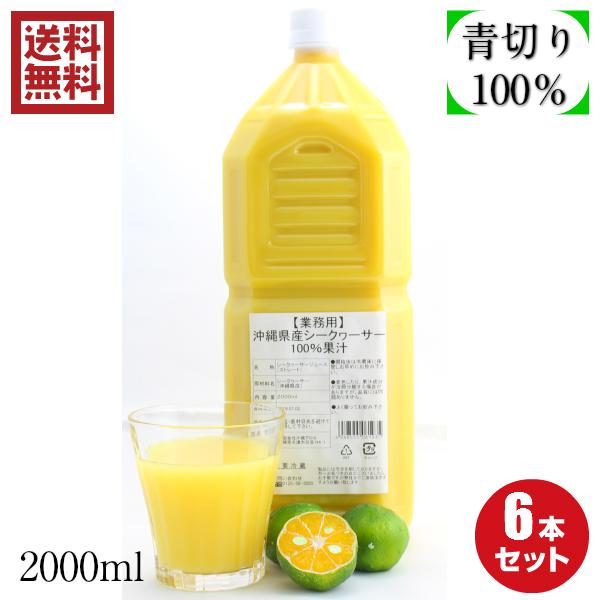 ノビレチン 豊富な 沖縄県産100% シークヮーサー 果汁2L6本セット 業務用サイズ 送料無料
