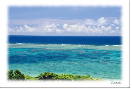 石垣島 訳あり品送料無料 広く広がる珊瑚礁の海 絵旅便り ☆正規品新品未使用品 NO.7
