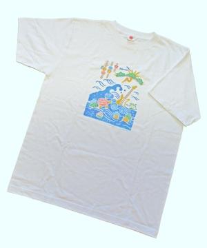 おきなわ歳時記 に掲載されたイラストをプリント 大槻紀子デザインTシャツ ピースフル ラブ フェスティバル size M モデル着用 注目アイテム 安い ロック