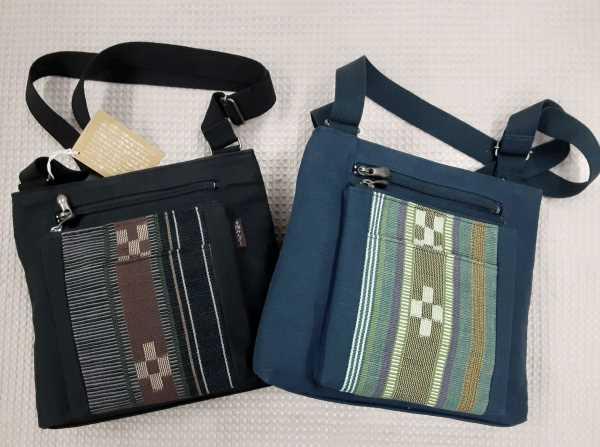 安心の実績 高価 買取 強化中 いつでも送料無料 沖縄の手織りミンサーのおしゃれなバッグお出かけでも普段使いでもばっちり ミンサーポケット付きショルダーバッグブラック