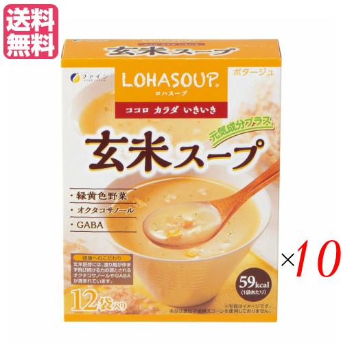 玄米胚芽 玄米胚芽粉末 たんぱく質 安心と信頼 小袋 オクタコサノール ギャバ インスタントスープ 粉末スープ ロハスープ ※アウトレット品 送料無料 LOHASOUP 玄米スープ 10セットファイン カップスープ 12杯分