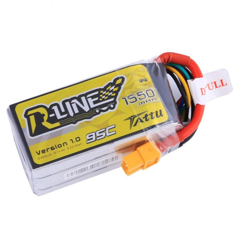 TATUU製 14.8V 1550mAh 95C 4S 高性能 バッテリー ワルケラ F210 F2103D Furious215 DTS Q180 Q220 など対応 (ta-95c-1550-4s1p-xt60) ラジコンヘリ関連商品 ドローン
