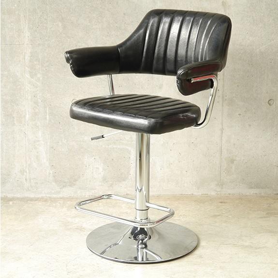 カウンターチェア バーチェア ゲイズ ハイチェア 背もテレ付き チェア 椅子 イス 昇降 レトロ チェア おしゃれ ブラック 黒