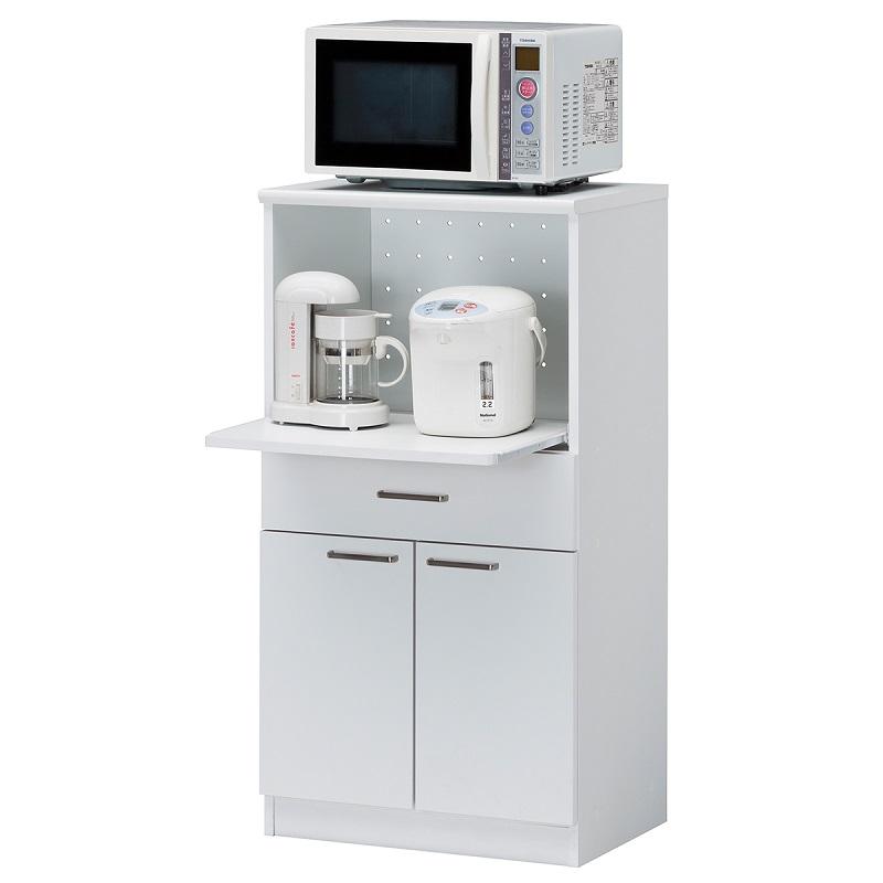 スライド付カウンターボード モデレオ [MDL-1160SDH WH] オフィスの給湯室に、オールインワンのレンジ台・食器棚。作業用スライド棚、2口コンセント付き。オフィスに似合うホワイト・白。サイズ幅584×奥行410×高さ1098mm 組立品