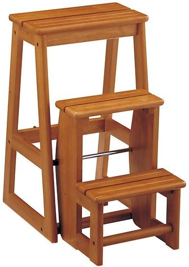 ステップチェアー 3段 チェア 脚立 スツール 木製チェア 踏み台 ブラウン