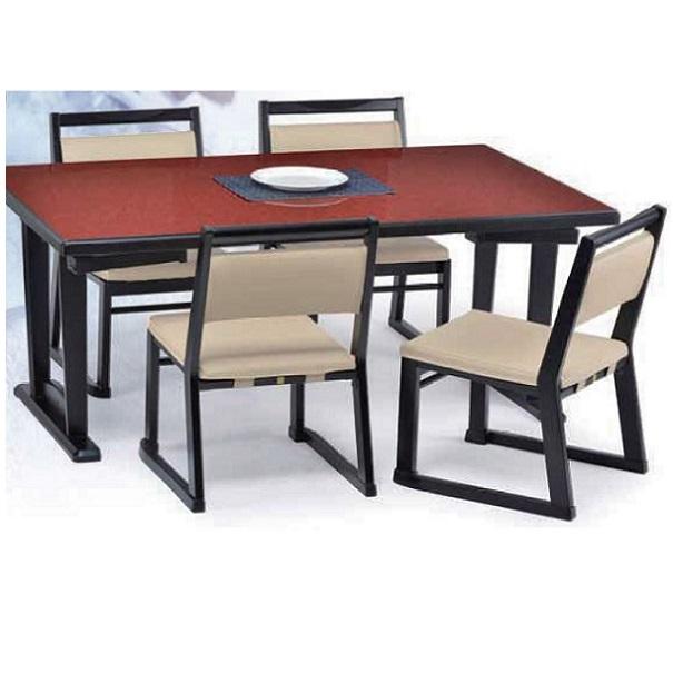 ダイニング5点セット ダイニングテーブルセット 4人掛け 4人用 ダイニングテーブルセット ロータイプ 座卓 和風 業務用 店舗 150cm 天板カラー黒のみ