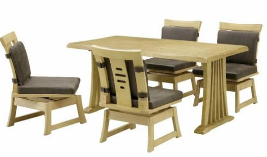 ダイニング5点セット 和モダン ナチュラル テーブル140×1 肘無しチェアー×4 和風 古風 回転チェアー 木製 天然木 無垢