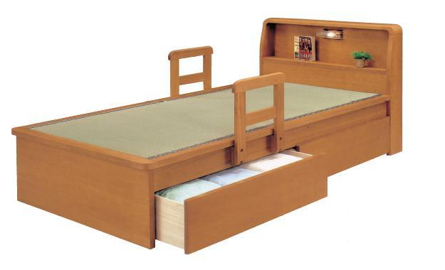 畳ベッド ベッド 木製 たたみベッド シングルベッド 宮付畳ベッド たたみ ベッドシングル  棚・ライト・引出し・手すり付 引出しタイプ 宮付き  棚付き 照明付き 収納  たたみベッド タタミベッド 木製