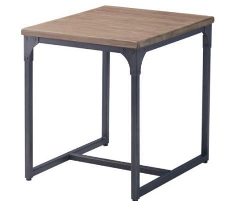 ヴィンテージ風 ダイニングテーブル テーブル 幅60cm チーク材 スチール脚 デザインテーブル(テーブルのみ)