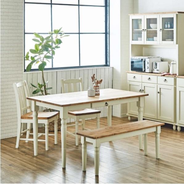 ダイニングテーブルセット 4人掛け 135cm幅 ダイニングテーブル ダイニングセット 4点セット おしゃれ カントリー ラベンダー ホワイト ベンチ 引出付き 木製 フレンチ カントリー かわいい 北欧