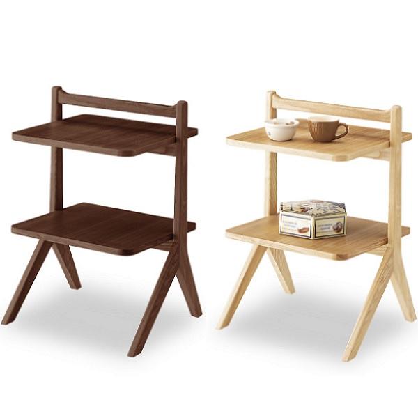 サイドテーブル 2段 幅45cm 取っ手付き 木製 ソファーサイド ベッドサイド キッチン 棚 ラック 北欧 おしゃれ