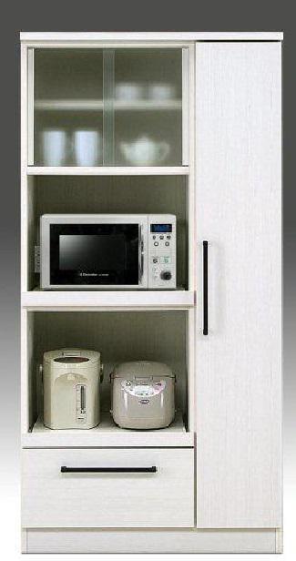 【売れ筋】レンジボード90cm 90cm幅 完成品 ハイタイプ食器棚 食器棚 ホワイト,ブラウン キッチン収納 収納  大川家具
