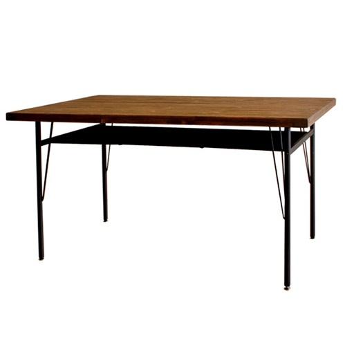 ダイニングテーブル テーブル ケルト ダイニング 棚付き アイアン 木製 木目 古木風 (ダイニングテーブルのみ)