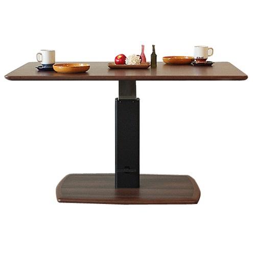 昇降式テーブル 昇降テーブル 幅120cmリフティングテーブル ブラウンリビングテーブル ダイニングテーブル 多目的テーブル 作業台グレー 北欧 モダン 木製 おしゃれ