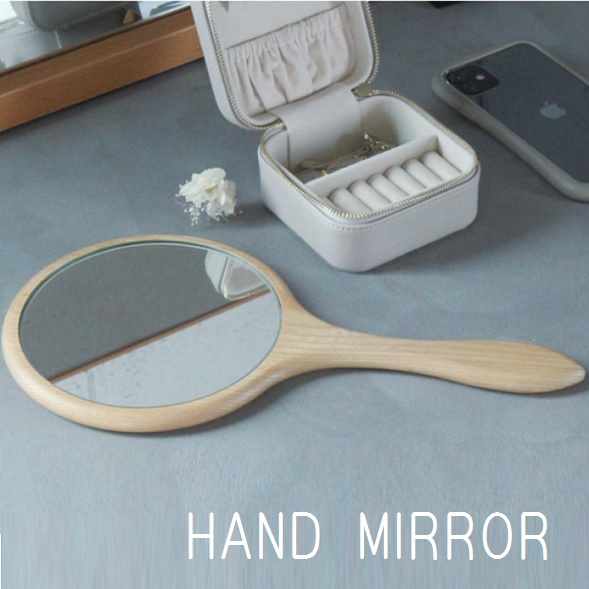 手鏡 即納最大半額 てかがみ ミラー 丸型 返品交換不可 木製 タモ材 木製ミラー ハンドミラー コンパクト 持ち手 鏡 おしゃれ 手かがみ 丸