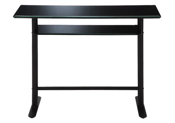 カウンターテーブル 120 ブラック 幅120×奥行き45×高さ90cm バーテーブル ガラステーブルb ガラス テーブル バーテーブル  棚付 ハイテーブル デスク 棚付き バーカウンター バーカウンターテーブル (チェア別売り)