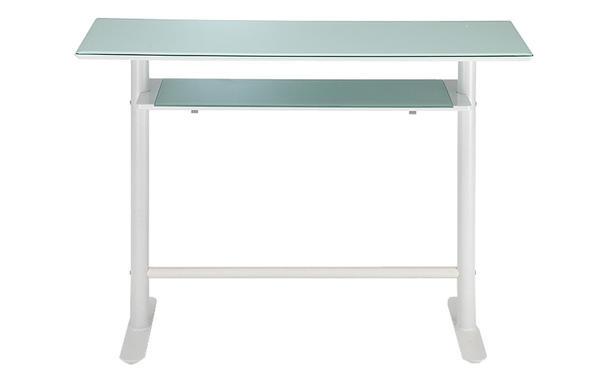 カウンターテーブル 120 ホワイト 白 幅120×奥行き45×高さ90cm バーテーブル ガラステーブル ガラス テーブル バーテーブル  棚付 ハイテーブル デスク 棚付き (チェア別売り)