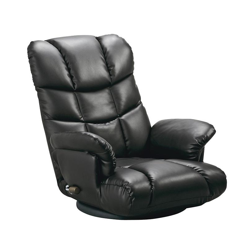 座椅子 座いす リクライニング チェア ソファ ソファー フロア 一人掛け 座イス 肘付き こたつ 座いす 一人掛け ソファ 合皮 あぐら おしゃれ ハイバック ワイド かわいい ブラック 黒色 座いす 回転 13段階 おしゃれ