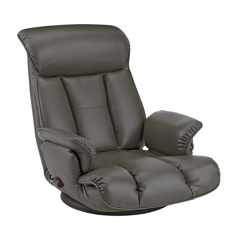座椅子 リクライニング ハイバック リクライニングチェア ダークグレー 座いす ソファ 座イス 一人掛け 肘付き ローソファー レザー 和室 レバー式 在宅ワーク 一人暮らし 敬老の日 おしゃれ 人気