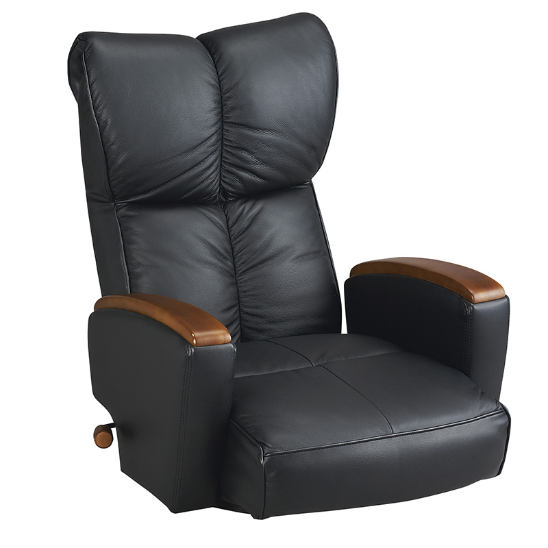 座いす 座椅子 本革座椅子 回転座椅子 ブラック リクライニング13段階 ポケット付き ポケットコイル ハイバック 高級座椅子